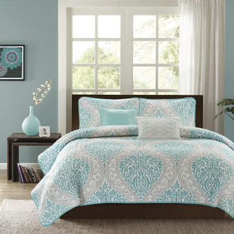100% Polyester Microfiber Printed 5 Piece Quilt Set - King/Cal King ID14-905