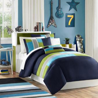 100% Polyester Microfiber Printed Comforter Set W/ Piecing - King/Cal King MZ10-502