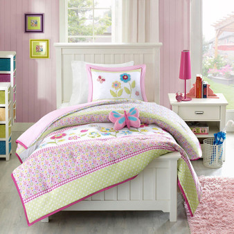 100% Polyester Printed Comforter Mini Set With 1 Dec Pillow - Full/Queen MZK10-004