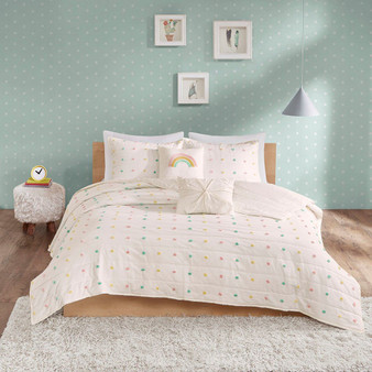 100% Cotton Jacquard Pom Pom 5Pcs Coverlet Set - Full/Queen UHK13-0093