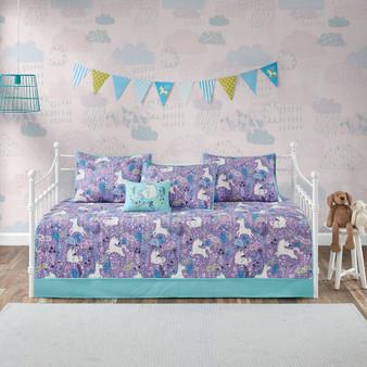 100% Cotton Printed 6Pcs Daybed Set - Purple UHK13-0085
