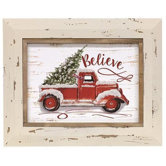 Believe Red Truck Sign