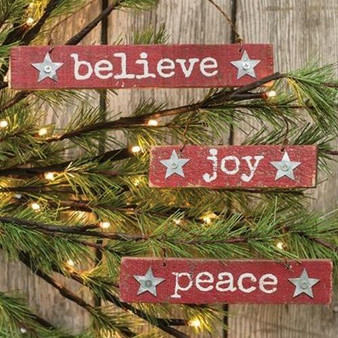 3/Set Joy Peace Believe Ornaments