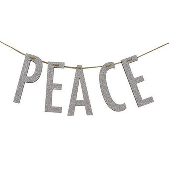 """""""Peace"""" Silver Wood Garland Small"""