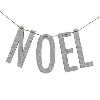 """""""Noel"""" Silver Wood Garland"""