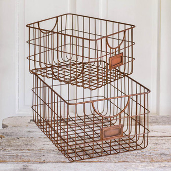 (Set Of 2) Copper Finish Storage Baskets