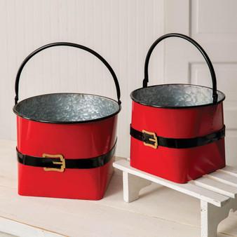 (Set Of 2) Large Santa Suit Buckets