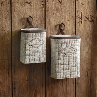 (Set Of 2) Basket Weave Hanging Buckets