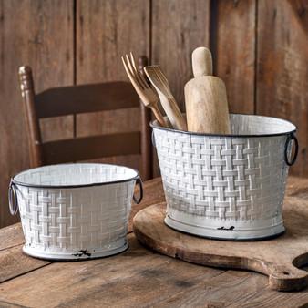 (Set Of 2) Basket Weave Oval Buckets