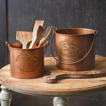 (Set Of 2) Copper Buckets