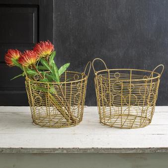 (Set Of 2) Gold Baskets