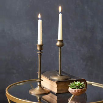 (Set Of 2) Brass Taper Candle Holders