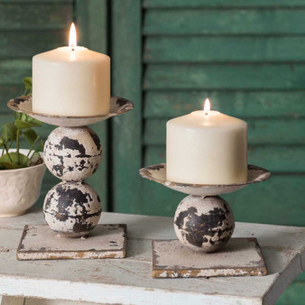 (Set Of 2) Spheres Pillar Candle Holders