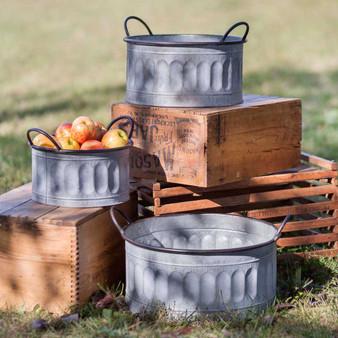 (Set Of 3) Galvanized Apple Baskets