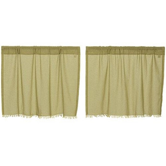 """*Olive Tobacco Cloth Fringed Tiers 24"""" X 36"""" 1 Pair G10768"""