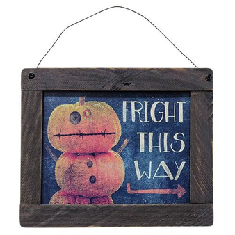 (*Framed Fright This Way Sign) G33310