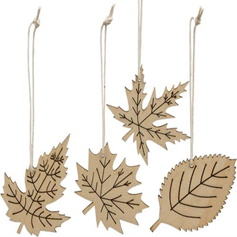 *24 Piece Laser Cut Leaf Ornaments G33660