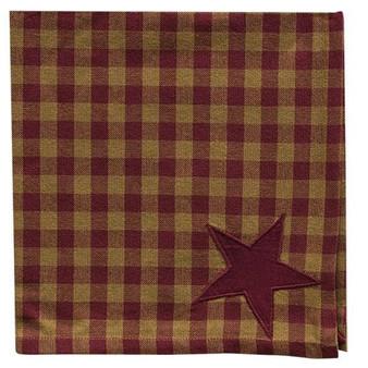 "*6/Set Burgundy Star Napkins 20"" G33896"