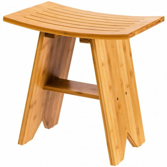 """Natural 18"""" Bamboo Shower Stool Bench With Shelf (Ba7273)"""