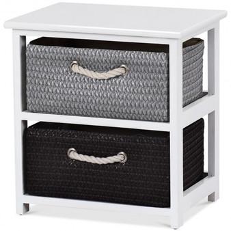 Wood en Storage End Nightstand With Weaving Baskets-2-Tier (Hw60297)