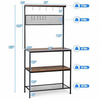 4-Tier Kitchen Rack Stand With Hooks & Mesh Panel (Hw65141)