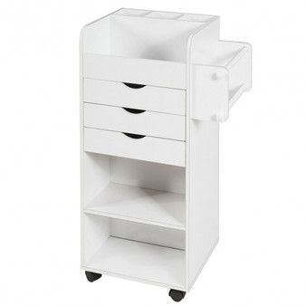 White Wooden Utility Rolling Craft Storage Cart- (Hw64001Wh)