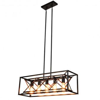 Iron 5-Light Kitchen Island Pendant Light Wood Metal Chandelier (Ep24667Us)