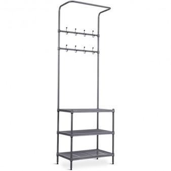Black 3 Tier Metal Storage Shelf 16 Hooks Hat Shoes Rack (Hw58543)