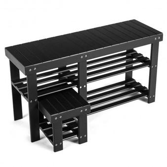 Black 3-Tier Entryway Bamboo Shoe Rack Bench Stool Storage Organizer (Hw61669)