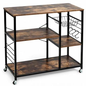 Iron Rolling Industrial Kitchen Baker'S Storage Shelf (Hw64006)