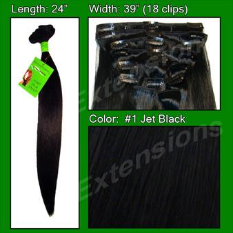 #1 Jet Black - 24 Inch Remy PRRM-24-1