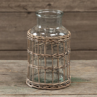 "10.25"" Glass & Grey Rattan Bottle (Pack Of 4)"