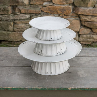 Distressed White 3-Tier Stand