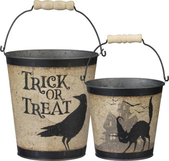 100814 Bucket Set - Trick Or Treat - Set Of 2 (Pack Of 3)