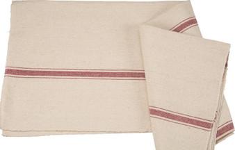 27417 Fabric - Cream, 3 Red Stripes - Set Of 12