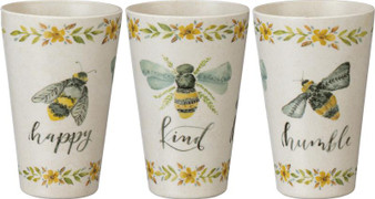 104019 Cup - Bee Happy Kind Humble - Set Of 4 (Pack Of 4)