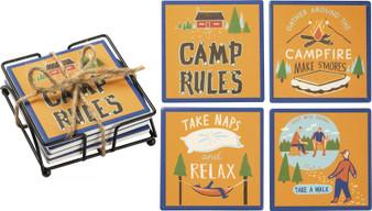 102800 Coaster Set - Camp Rules - Set Of 4