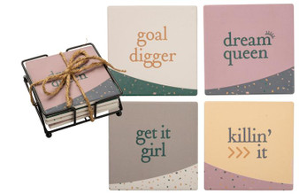 101571 Coaster Set - Get It Girl - Set Of 4