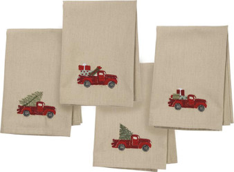 101316 Dinner Napkin Set - Red Truck - Set Of 2 (Pack Of 2)