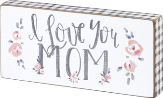 100173 Block Sign - I Love You Mom - Set Of 4 (Pack Of 2)