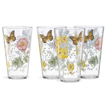 Butterfly Meadow 4-Piece Acrylic Highball Glass Set (866239)