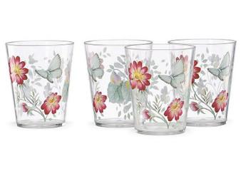 Butterfly Meadow 4-Piece Acrylic Dof Glass Set (866237)
