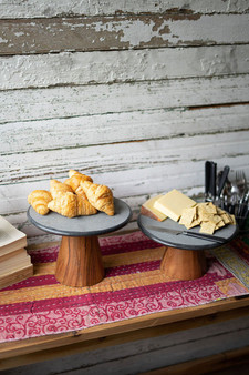 Two Set Lava Stone Cake Stands With Wood Pedestals