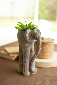 (2 Pack) Tall Clay Elephant Planter