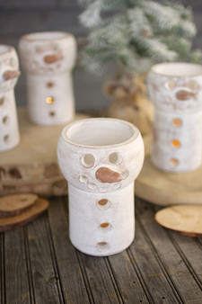 (4 Pack) Clay Snowman Luminary