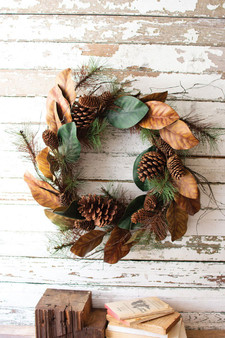 (2 Pack) Artificial Magnolia & Pine Wreath