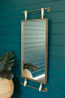 Hanging Mirror With Antique Brass Frame And Rope Detail