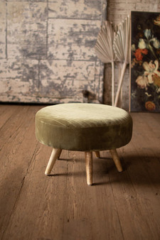 Avocado Velvet Ottoman With Wooden Legs