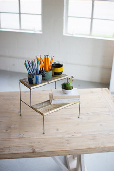 (2 Pack) Two Tiered Recycled Wood And Metal Display Stands