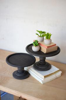 Two Set Black Wooden Display Pedestals
